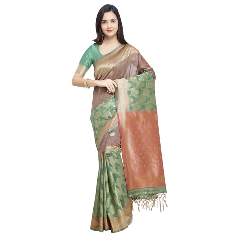 Chiku And Green Color Linen Silk Saree - YNF-29195