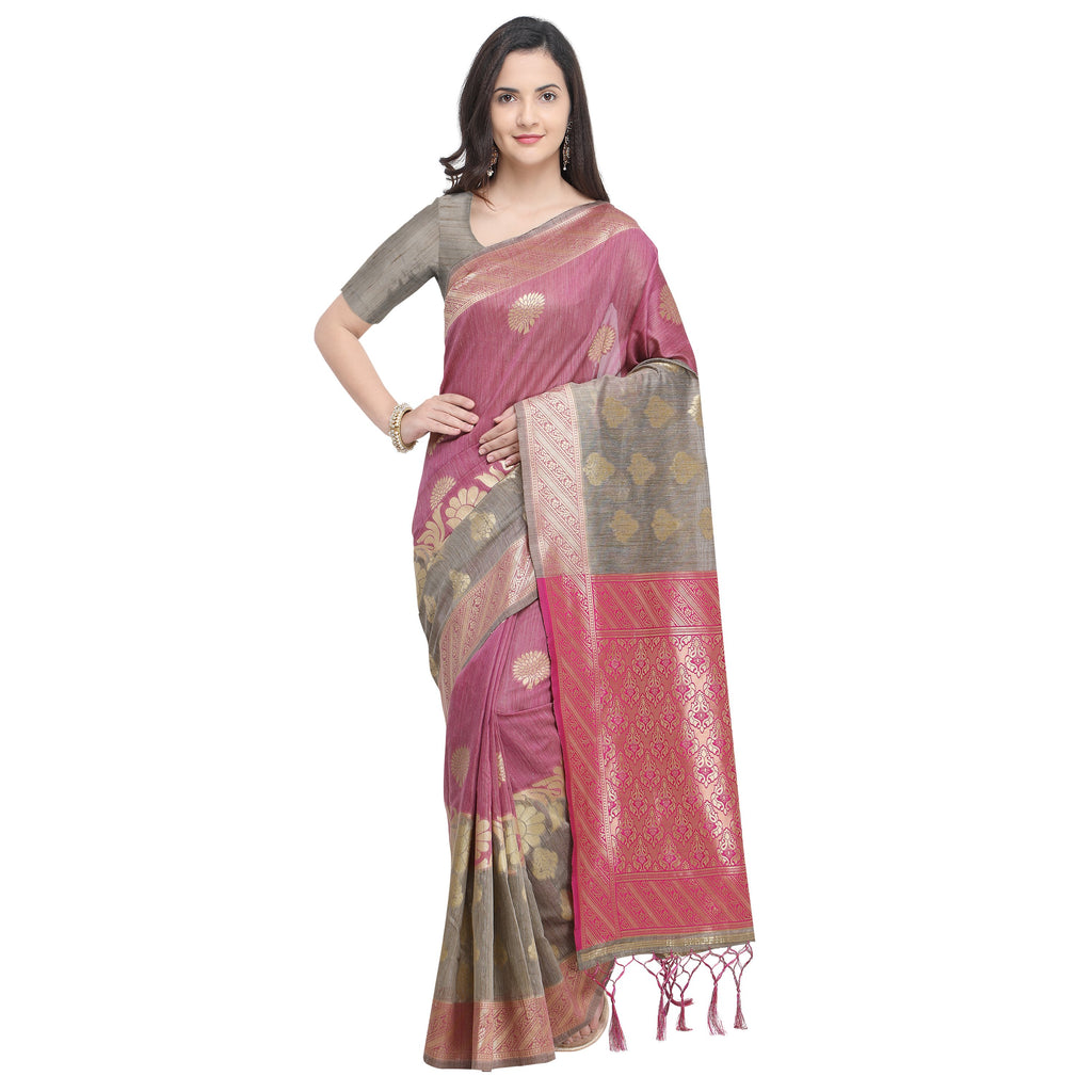 Buy Rani And Chiku Color LINEN SILK Saree