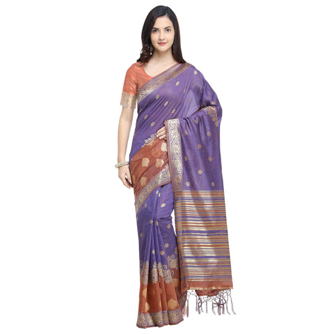 Violet And Brown Color Linen Silk Saree - YNF-29198