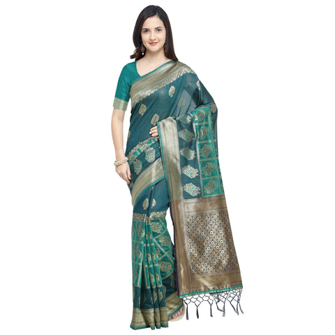 Navy Green Color Linen Silk Saree - YNF-29199