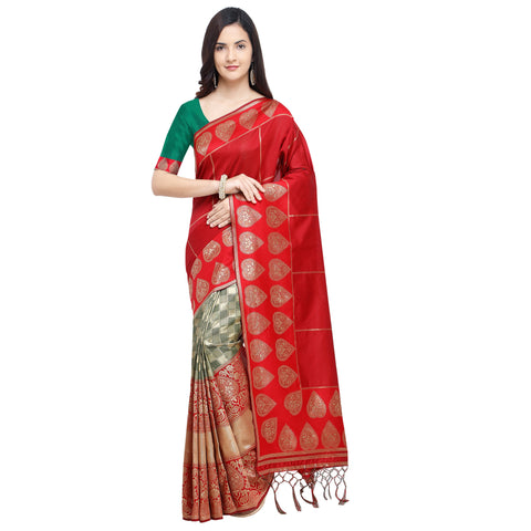 Red Color Banarasi Art Silk Saree - YNF-29206