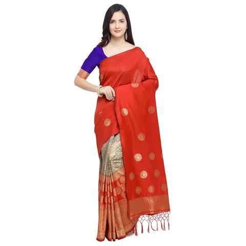 Orange Color Banarasi Art Silk Saree - YNF-29207