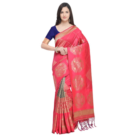 Gajari Color Banarasi Art Silk Saree - YNF-29208