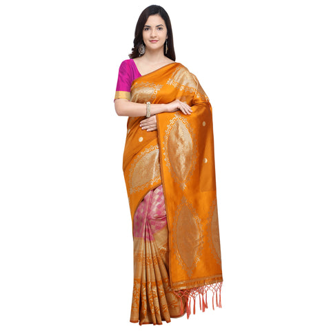 Mustard Color Banarasi Art Silk Saree - YNF-29209
