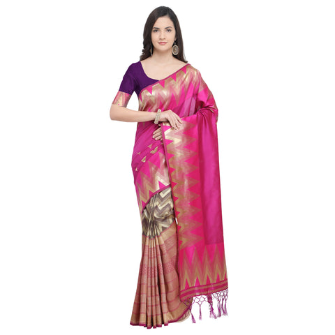Rani Pink Color Banarasi Art Silk Saree - YNF-29211