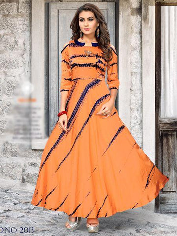 Orange Color Satin Women's Stitiched Kurti - YOYO-109-FG-2008