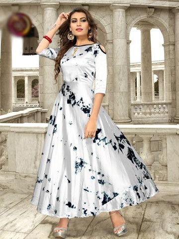Off White Color Satin Women's Stitiched Kurti - YOYO-109-FG-2009