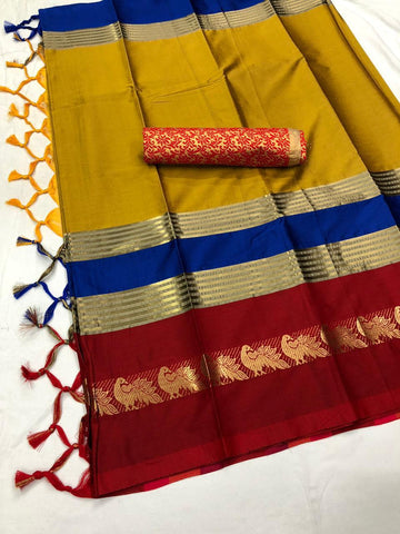 Yeloow And Red Color  Cotton Silk Saree With Extra Blouse - YOYO-2003