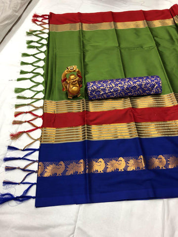Green And Blue Color  Cotton Silk Saree With Extra Blouse - YOYO-2004