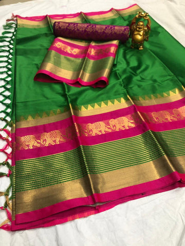 Green And Pink Color  Cotton Silk Saree With Extra Blouse - YOYO-2006