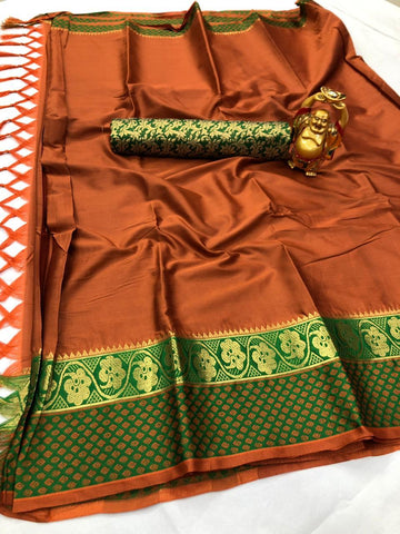Dark Orange Color Cotton Silk Saree - YOYO-2068