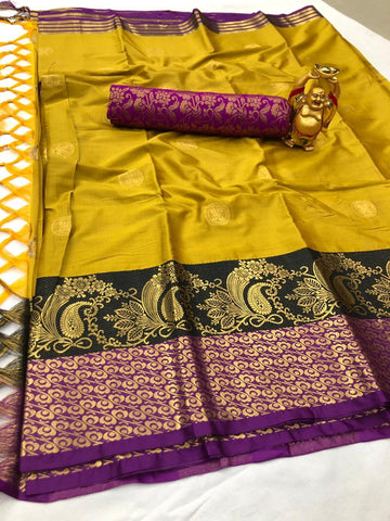Mustard Color Cotton Silk Saree - YOYO-2083