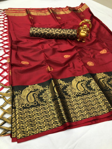 Maroon Color Cotton Silk Saree - YOYO-2084