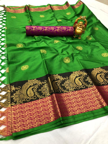 Green Color Cotton Silk Saree - YOYO-2085