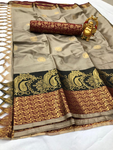 Gray Color Cotton Silk Saree - YOYO-2086