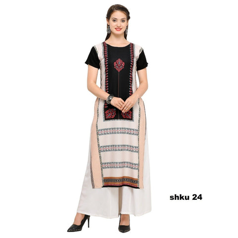 Multi Color Crepe Women's Stitched Kurti - YOYO-3207