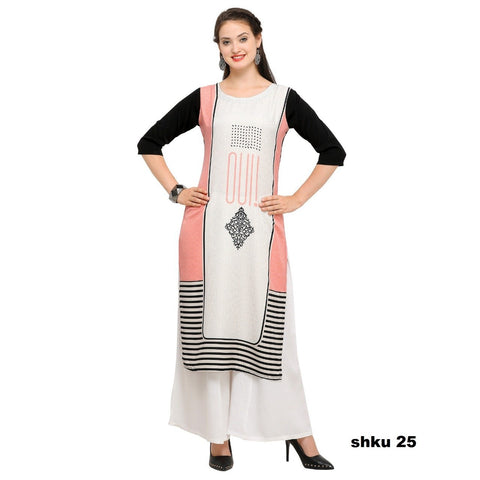 Multi Color Crepe Women's Stitched Kurti - YOYO-3208