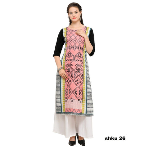 Multi Color Crepe Women's Stitched Kurti - YOYO-3211
