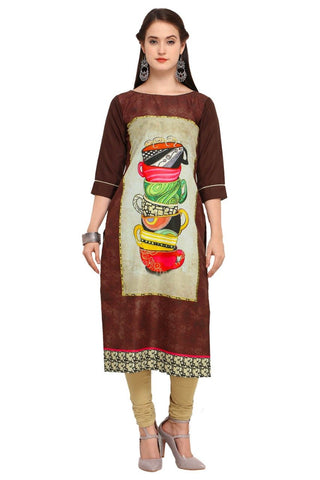 Brown Color Crepe Women's Stitched Kurti - YOYO-3212