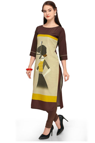 Brown Color Crepe Women's Stitched Kurti - YOYO-3213