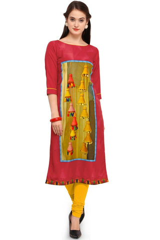 Red Color Crepe Women's Stitched Kurti - YOYO-3214