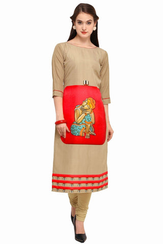 Cream Color Crepe Women's Stitched Kurti - YOYO-3215