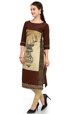 Brown Color Crepe Women's Stitched Kurti - YOYO-3216