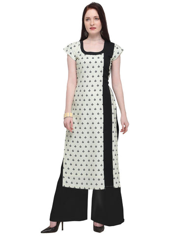 Black White Color Crepe Women's Stitched Kurti - YOYO-3218