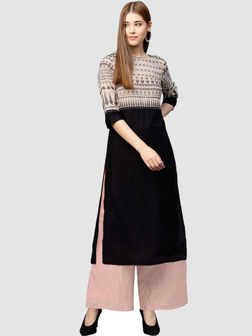 Black Color Crepe Women's Stitched Kurti - YOYO-3219