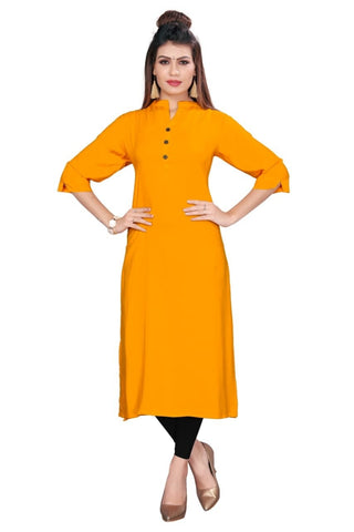 Yellow Color Rayon Women's Stitched kurti - YOYO-8001