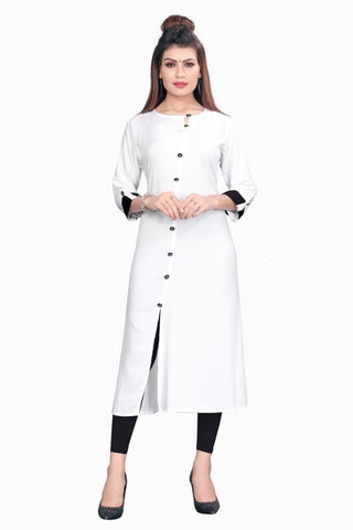 White Color Rayon Women's Stitched kurti - YOYO-8002
