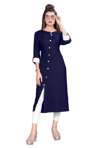 Navy Color Rayon Women's Stitched kurti - YOYO-8003