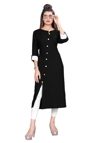 Black Color Rayon Women's Stitched kurti - YOYO-8004
