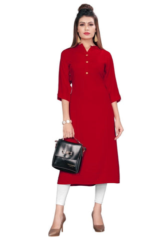 Red Color Rayon Women's Stitched kurti - YOYO-8005