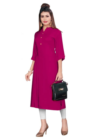 Pink Color Rayon Women's Stitched kurti - YOYO-8006