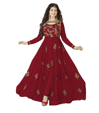 Maroon Color 60GM Georgette Semi Stitched Salwar - YOYO-F1016