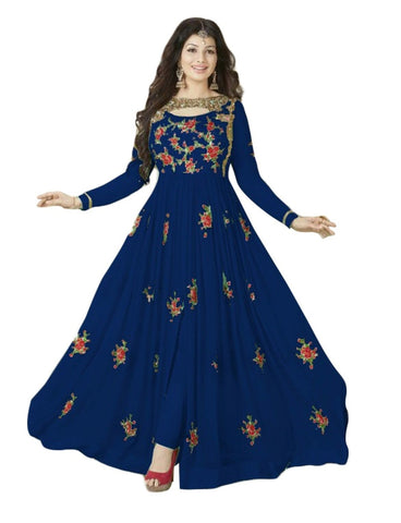 Blue Color 60GM Georgette Semi Stitched Salwar - YOYO-F1017