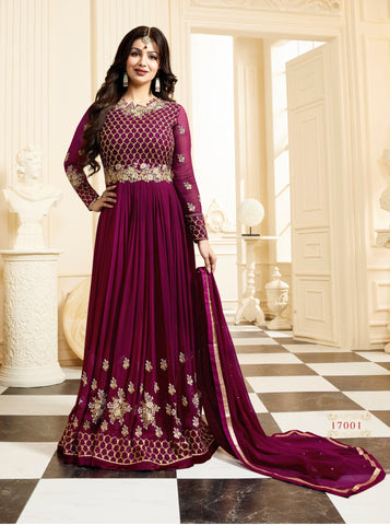 Purple Color Faux Georgette Semi Stitched Salwar - YOYO-F1131
