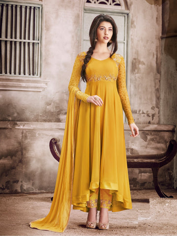 Yellow Color Faux Georgette Semi Stitched Salwar - YOYO-F1135