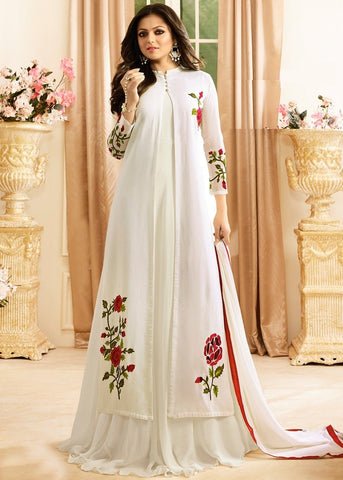 Off White Color Faux Georgette Semi Stitched Salwar - YOYO-F1140