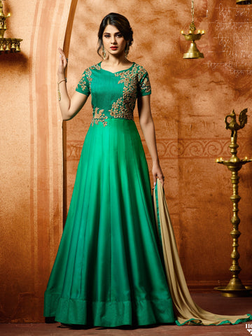 Sea Green Color Paper Silk Semi Stitched Salwar - YOYO-F1153