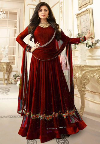 Maroon Color Faux Georgette Semi Stitched Salwar - YOYO-F1161