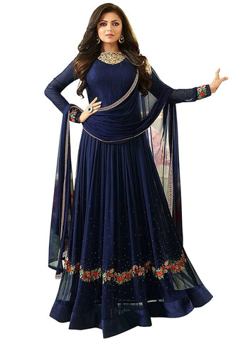 Blue Color Faux Georgette Semi Stitched Salwar - YOYO-F1163