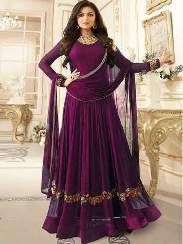 Purple Color Faux Georgette Semi Stitched Salwar - YOYO-F1164
