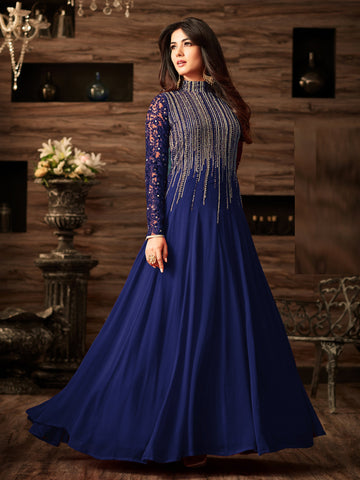Blue Color Faux Georgette Semi Stitched Salwar - YOYO-F1166-Blue