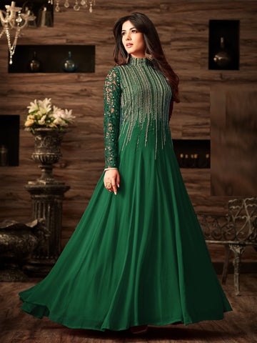 Green Color Faux Georgette Semi Stitched Salwar - YOYO-F1166-Green