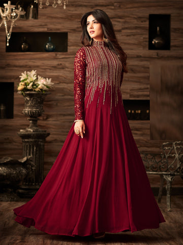 Maroon Color Faux Georgette Semi Stitched Salwar - YOYO-F1166