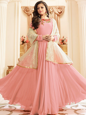 Pink Color Faux Georgette Semi Stitched Salwar - YOYO-F1169