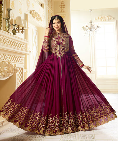 Wine Color Faux Georgette Semi Stitched Salwar - YOYO-F1194