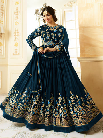 Blue Color Faux Georgette Semi Stitched Salwar - YOYO-F1196-Blue